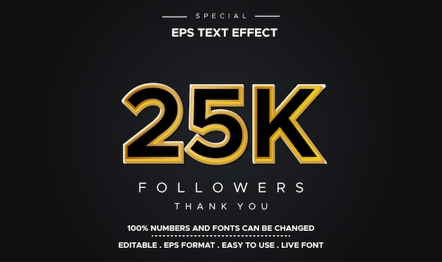 Edytowalny efekt liczbowy w stylu tekstu 25k