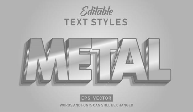 Edytowalny efekt metalowy tekstu