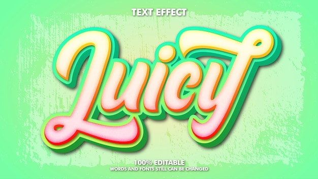 Edytowalny efekt soczystego tekstu szablon typografii dla marki napoju
