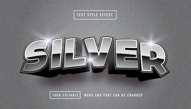 Edytowalny efekt srebrny jasny tekst