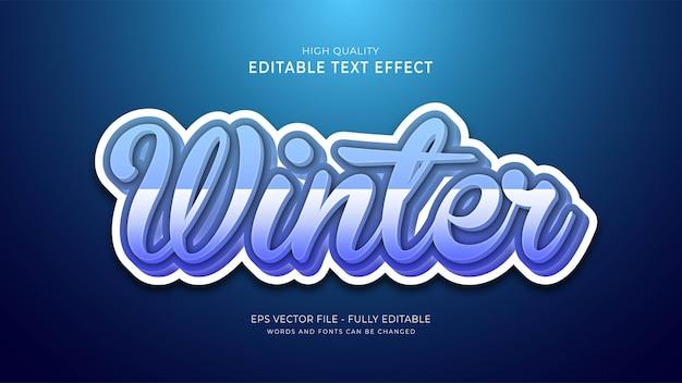 Edytowalny efekt stylu czcionki zimowej 3d