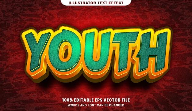Edytowalny efekt stylu tekstu 3d młodzieży