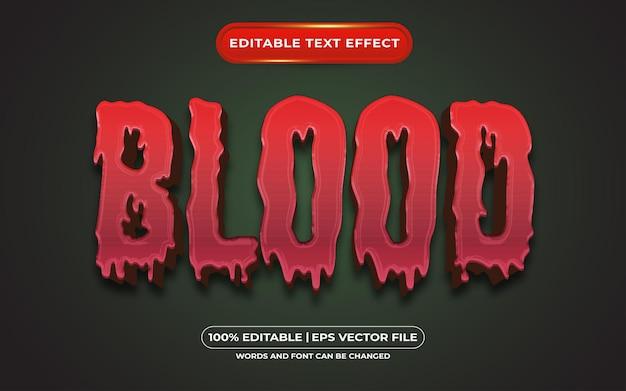 Edytowalny efekt stylu tekstu krwi odpowiedni dla motywu halloweenowego