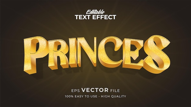 Edytowalny efekt stylu tekstu - motyw stylu tekstu gold princes