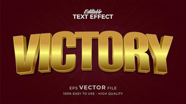 Edytowalny efekt stylu tekstu - motyw stylu tekstu victory gold