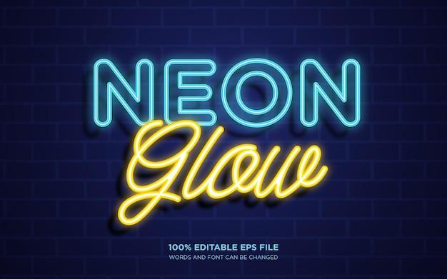 Edytowalny efekt stylu tekstu neon glow