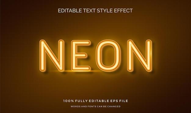 Edytowalny efekt stylu tekstu neon light motyw jasny kolor.