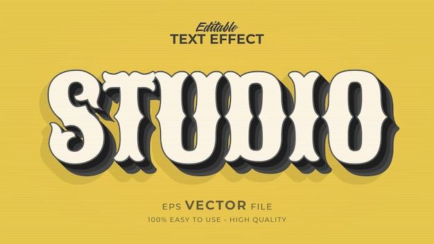Edytowalny efekt stylu tekstu - studio motyw w stylu retro tekstu