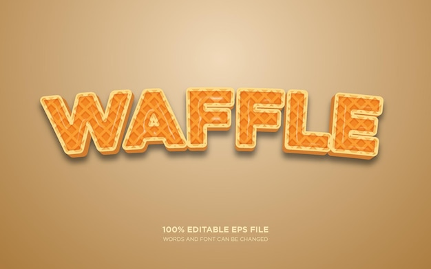 Edytowalny efekt stylu tekstu wafel 3d
