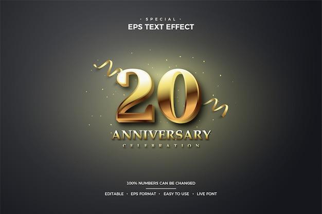 Edytowalny efekt stylu tekstu z 20. cyframi 3d w kolorze złotym.