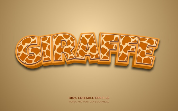 Edytowalny efekt stylu tekstu żyrafa 3d