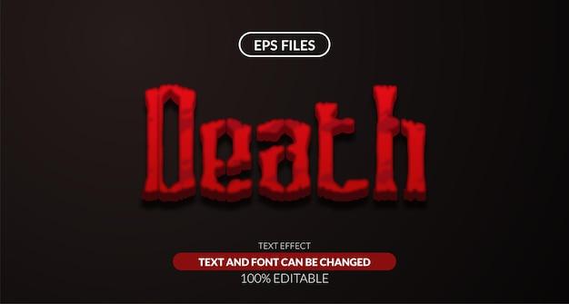Edytowalny efekt tekstowy 3d czerwony dekoracyjny śmierć. plik wektorowy eps. strach horror straszna tajemnica