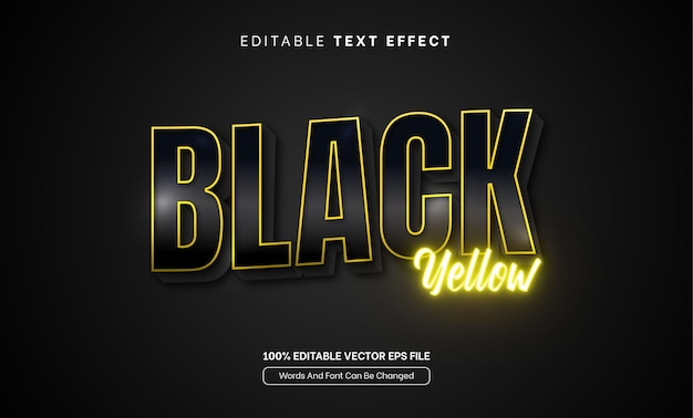 Edytowalny efekt tekstowy 3d gradient ciemny czarny żółty blask neonowy edytowalny efekt tekstowy