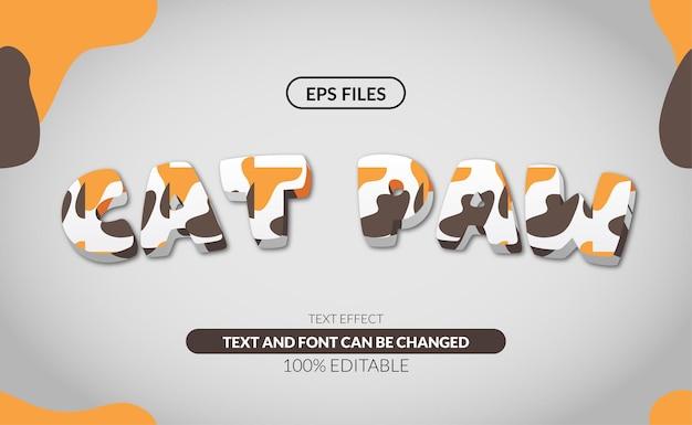Edytowalny efekt tekstowy 3d kota.