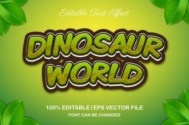 Edytowalny efekt tekstowy 3d świata dinozaurów