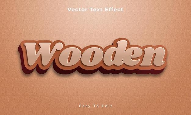 Edytowalny efekt tekstowy 3d w stylu drewnianym premium vecto