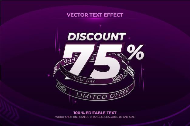 Edytowalny efekt tekstowy 3d z rabatem na jeden dzień z fioletowym stylem tła