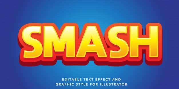 Edytowalny efekt tekstowy 3d żółty czerwony styl