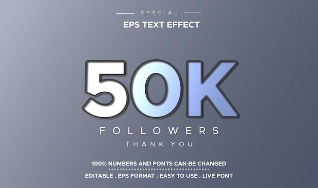 Edytowalny Efekt Tekstowy 50 000 Obserwujących Premium Wektorów
