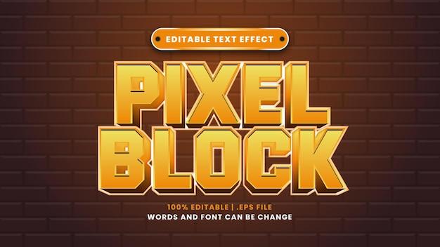 Edytowalny efekt tekstowy bloku pikseli w nowoczesnym stylu 3d
