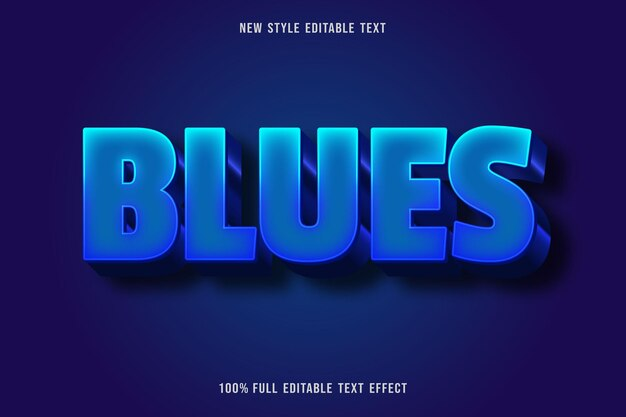 Edytowalny efekt tekstowy blues kolor niebieski gradacja