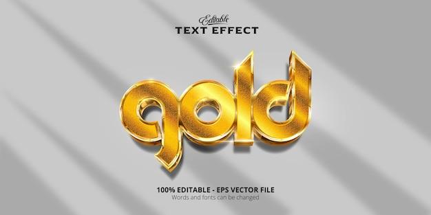 Edytowalny efekt tekstowy, błyszczący styl złoty tekst