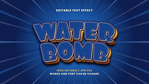 Edytowalny efekt tekstowy bomby wodnej w nowoczesnym stylu 3d