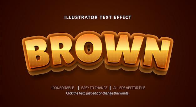 Edytowalny efekt tekstowy brązowy tytuł premium