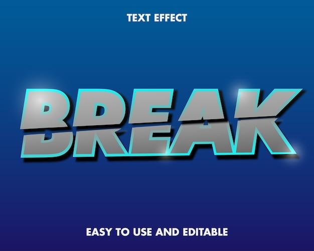 Edytowalny efekt tekstowy - break word. łatwy w użyciu i edytowalny. ilustracja wektorowa premium