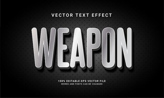 Edytowalny efekt tekstowy broni w kolorze srebrnym