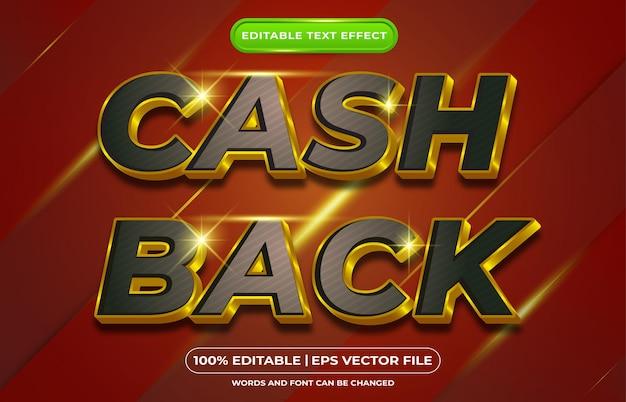 Edytowalny efekt tekstowy cash back złoty styl szablonu tematycznego