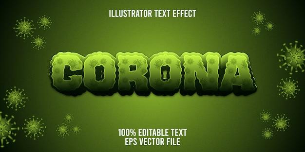 Edytowalny efekt tekstowy covid-19 corona virus