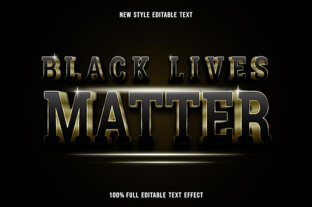 Edytowalny efekt tekstowy, czarne życie ma znaczenie w czerni i złocie