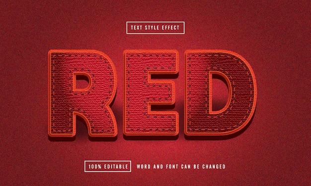Edytowalny efekt tekstowy czerwonej tkaniny