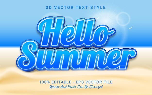 Edytowalny efekt tekstowy cześć lato na plaży