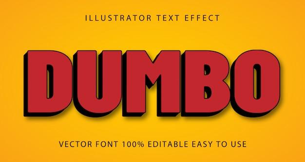 Edytowalny efekt tekstowy dumbo