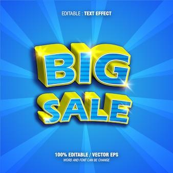 Edytowalny efekt tekstowy duża sprzedaż gradient koloru niebieskiego