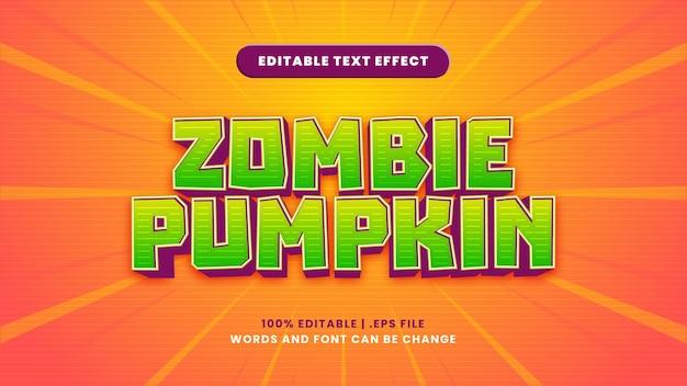 Edytowalny efekt tekstowy dyni zombie w nowoczesnym stylu 3d