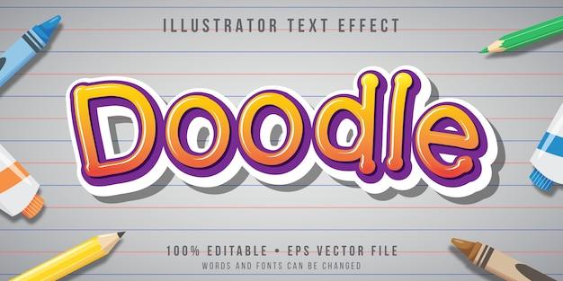 Edytowalny efekt tekstowy - dzieci doodle styl