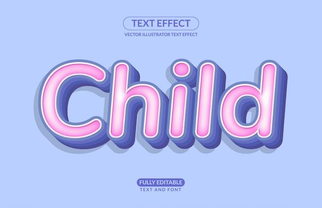 Edytowalny efekt tekstowy dziecko