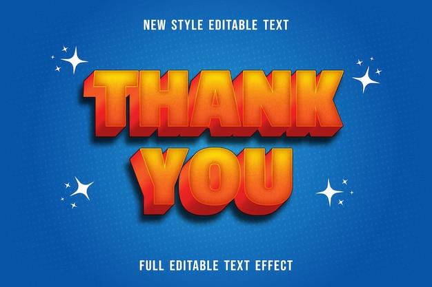 Edytowalny efekt tekstowy dziękuję kolorowi żółtemu i pomarańczowemu