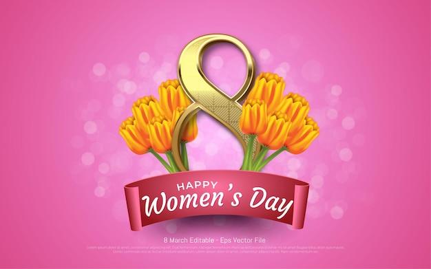 Edytowalny efekt tekstowy, dzień kobiet 8 marca z kwiatami