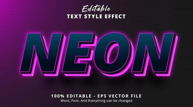 Edytowalny efekt tekstowy efekt stylu tekstu w fioletowym świetle neonowej aury