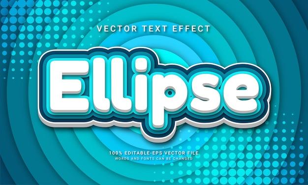Edytowalny efekt tekstowy elipsy z motywem koloru niebieskiego