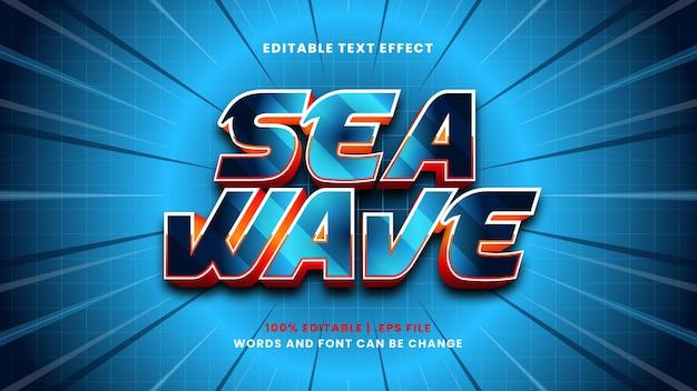 Edytowalny efekt tekstowy fali morskiej w nowoczesnym stylu 3d