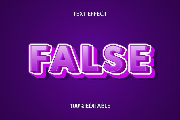 Edytowalny efekt tekstowy fałszywy kolor fioletowy