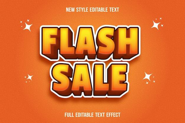 Edytowalny efekt tekstowy flash sprzedaży w kolorze żółtym i pomarańczowym