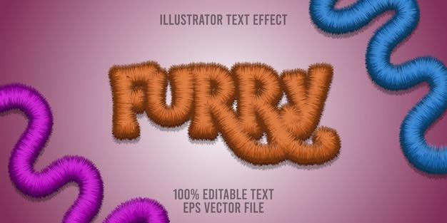 Edytowalny efekt tekstowy furry premium style