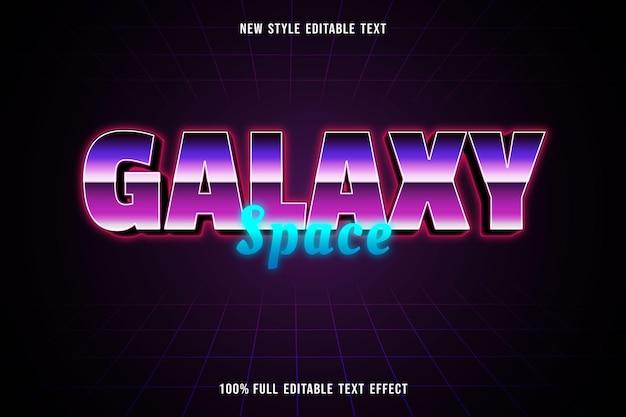 Edytowalny efekt tekstowy galaktyka przestrzeń kolor fioletowy różowy i niebieski