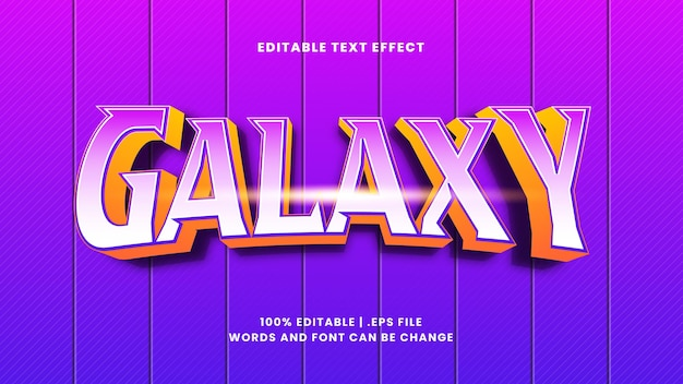 Edytowalny efekt tekstowy galaxy w nowoczesnym stylu 3d
